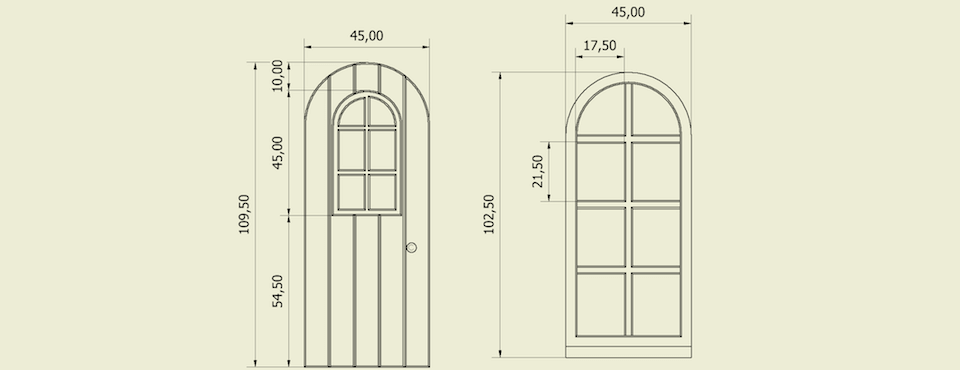 Ontwerp van een deur met raam en raam in dezelfde stijl