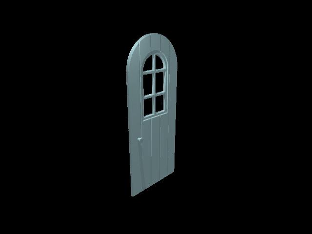 Halfronde deur met raam